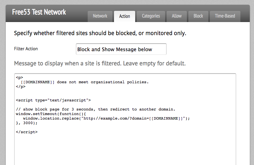 Block Page Redirect after timeout