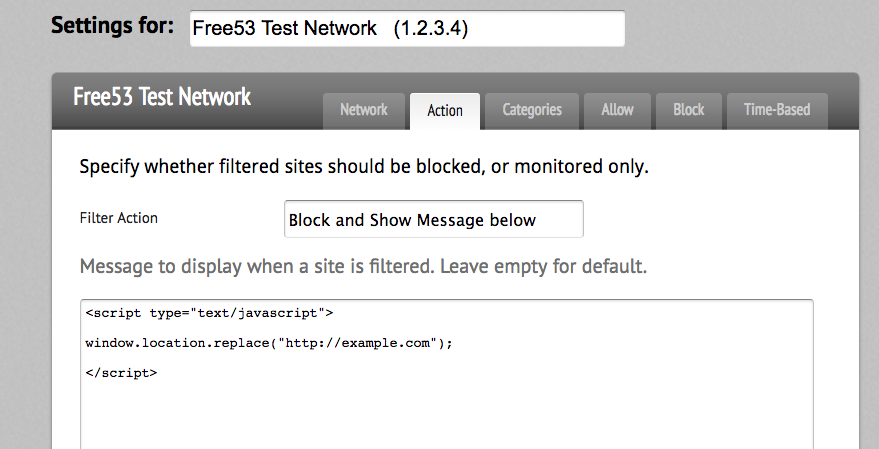Block Page Redirect