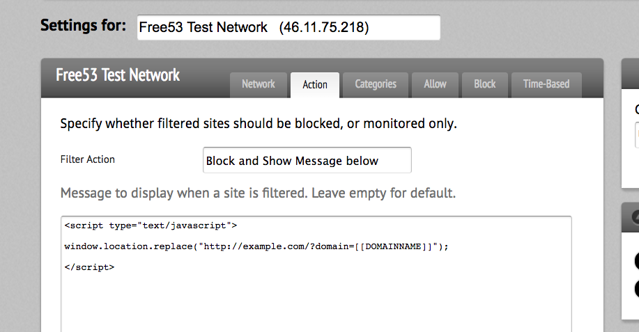 Block page redirect with custom tag