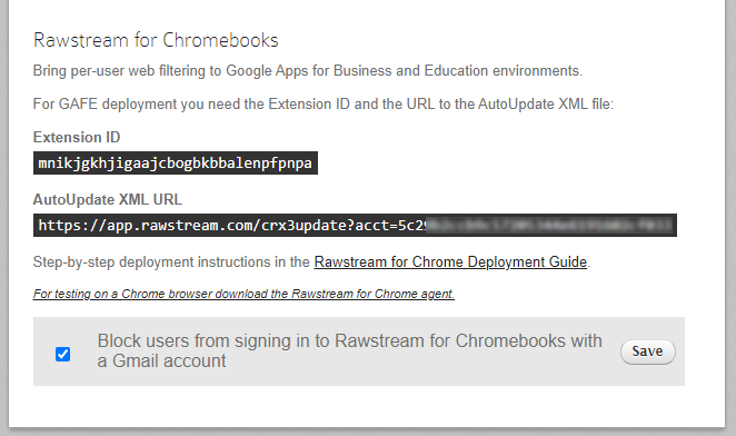 Rawstream for Chrome Settings